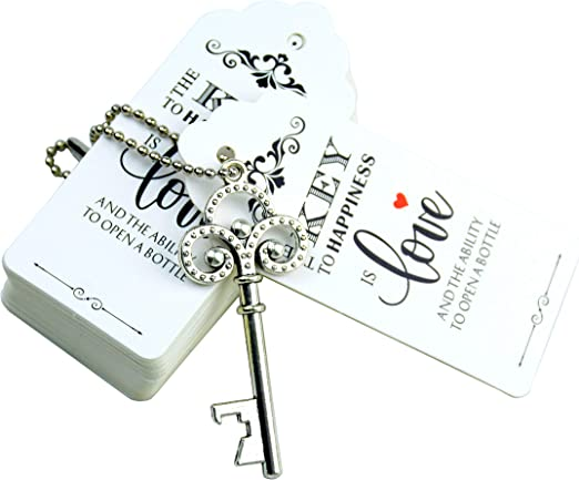 Antique Silver Aokbean 52pcs Love Heart Vintage Skeleton Key Bottle Opener Party Favor Wedding Favor Guest Souvenir Gift Set with Escort Thank You Tag Card and Keychain