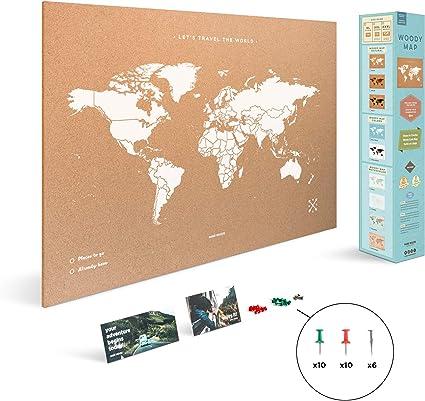 Miss Wood Map XL - Mapa del mundo de corcho, 60 x 90 cm, Blanco: Amazon.es: Hogar