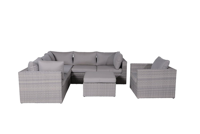 Garden Impressions Lounge Set, 5-teilige Gruppe JAMAIKA - Hochwertiges Kunststoff Geflecht, Kissen in Sand, shadow grau, 240.5x240.5x65 cm, 13640WF