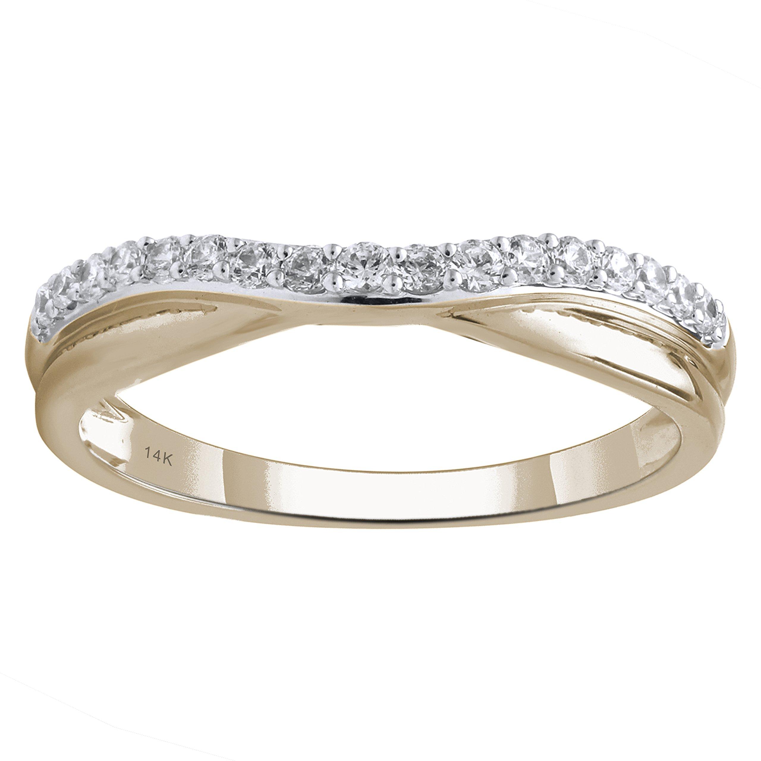 14K Yellow Gold 1/4cttw Round Diamond Contour Ring