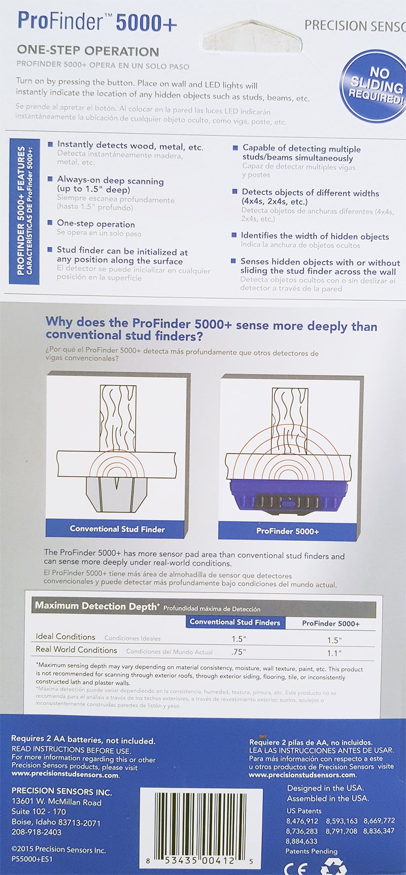 ProFinder 5000+ Professional Stud Finder - Newest PLUS Model Deep Scanning Precision Sensor Locator w Built-In Bubble Level and Ruler