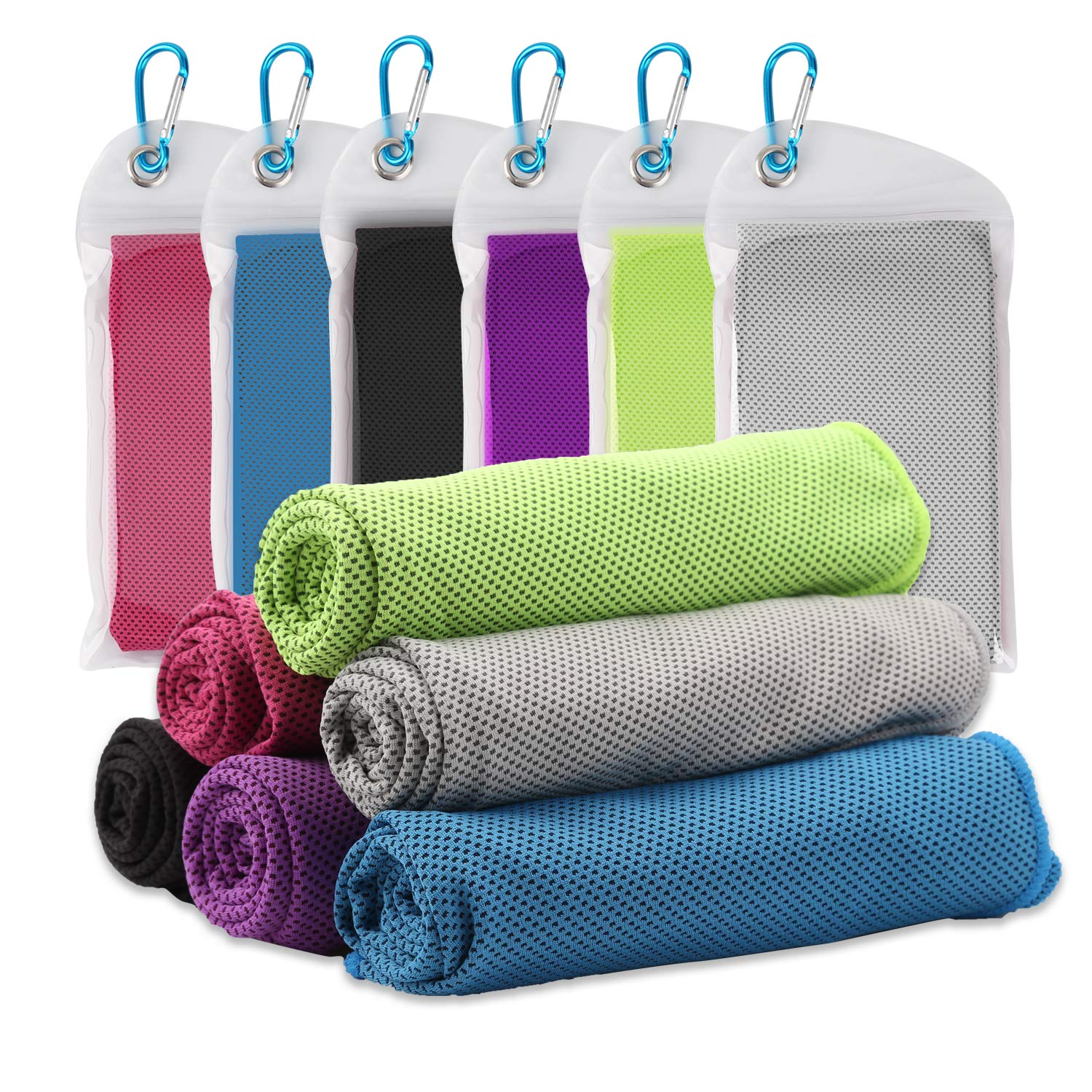 "Vetoo 6 Packs Cooling Towel (40""x 12"") for Instant Relief, Ice Towel, Microfiber Towel for Sports, Gym, Yoga, Travel, Camping & More"