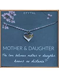 EFYTAL Long Distance Gifts for Mom and Daughter, Sterling Silver Heart Necklace, Moving Away Gift for Mother