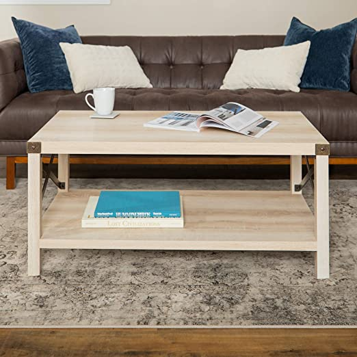 Amazon Com New 40 Inch Metal X Frame Coffee Table With White Oak Finish Kitchen Dining