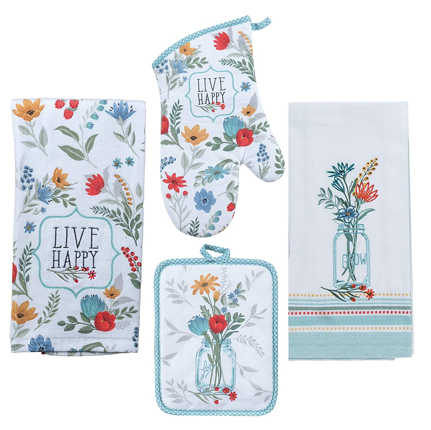 Blooming Thoughts Kitchen Linen Set - 4 Piece Bundle Includes 1 Terry Towel, 1 Tea Towel, 1 Oven Mitt, and 1 Potholder