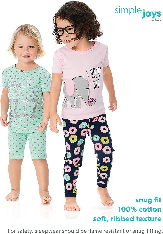 6er-Pack Simple Joys by Carters Baby-M/ädchen 6teiliges Pyjama-Set aus Baumwolle mit eng anliegender Passform