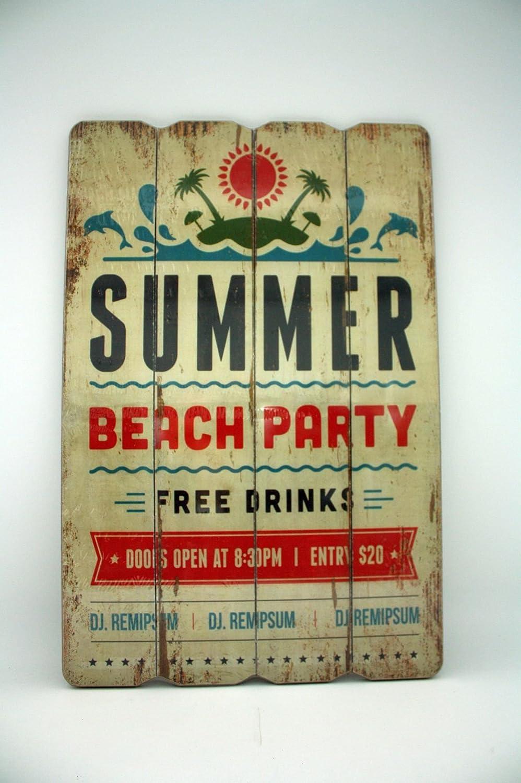 Vintage Cartel de madera - Summer Beach Party - 60 x 40 cm ...