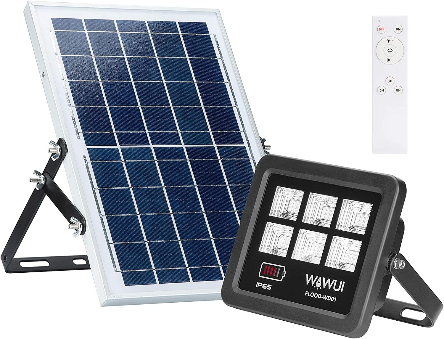 WAWUI LED Solar Flood Lights Outdoor - Dusk to Dawn, IP65 Waterproof, Remote Control, 80W, 72LEDs 800 LM 6500K, Solar Security Flood Lights for Garden, Garage, Pathway, Pool, Deck, Yard, Street