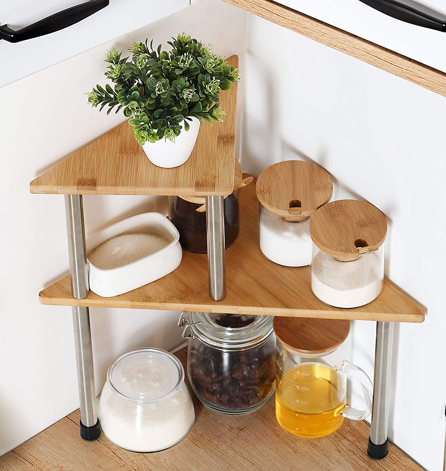 Amazon Com Hynawin Corner Shelves 2 Tier Spice Rack Standing Pantry Cabinet Storage Shelf Creative Adjustable Style Compact Bamboo Counter Shelving Best Home Décor For Kitchen Bathroom Bedroom Triangle Home Kitchen