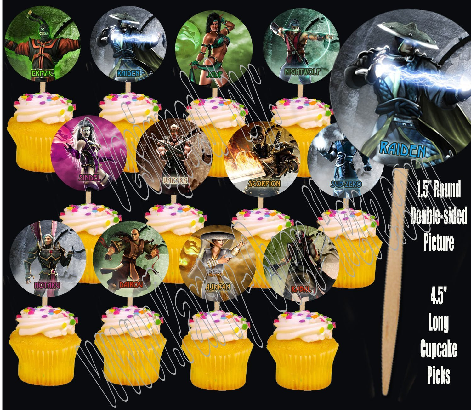 Party Over Here Mortal Kombat Video Game Double-sided Images Cupcake Picks Cake Topper -12 by Party Over Here