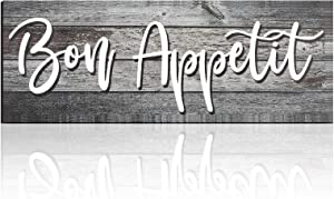 Yalikop Rustic Bon Appetit Sign Farmhouse Kitchen Wall Decor Wooden Kitchen Plaque Decor for Home Dining Living Room Bar Cafe Restaurant