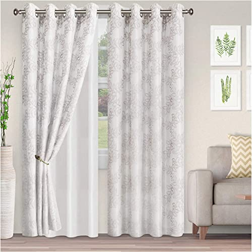 Blue Nile Mills Foliage 2 Panels Sheer Curtains 52X108 , Grey