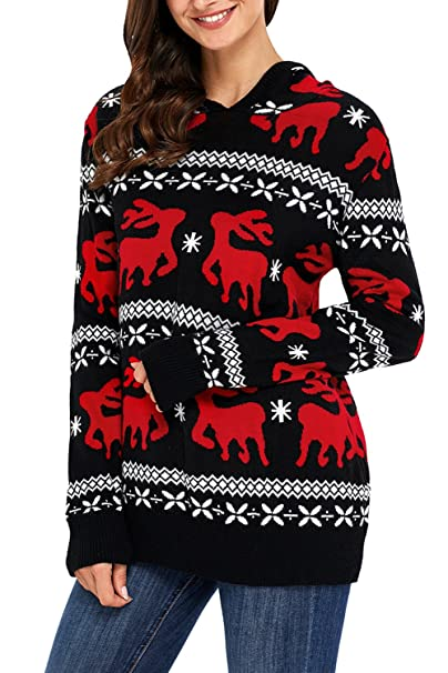 Ugly Christmas Sweater Pattern.Losrly Women Ugly Christmas Sweater Cute Reindeer Hooded Knit Jumper Pullover
