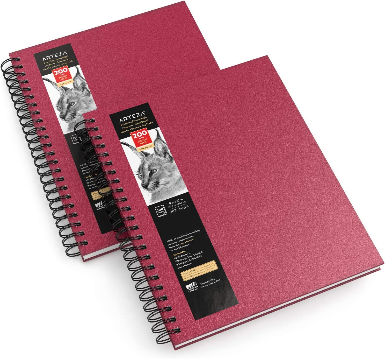 Arteza Sketch Book, 9x12-inch, 2-Pack
