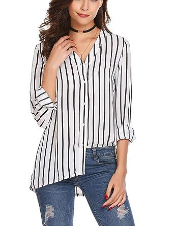 0b1d226c9d06c7 Zeagoo Women s White Stripe Blouse Long Sleeve Button Down Shirt V Neck  Chiffon Tops (White S) at Amazon Women s Clothing store