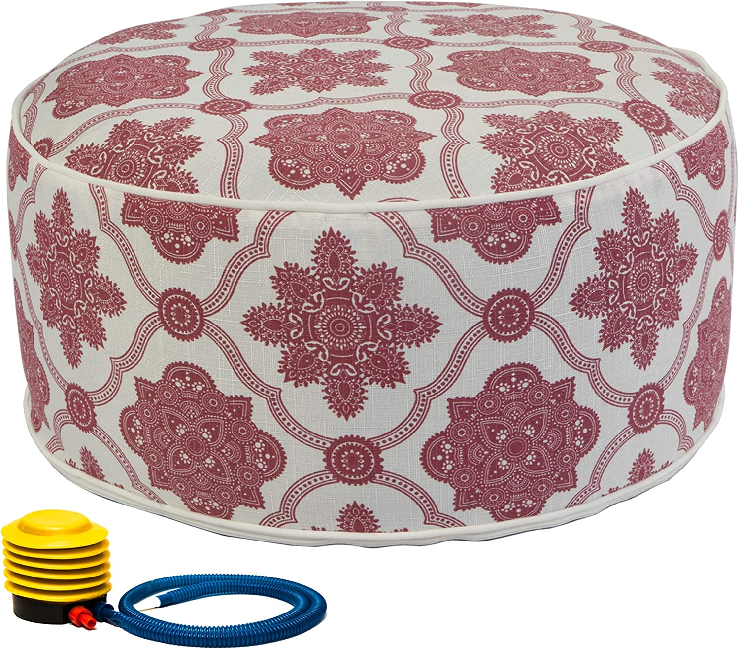 Kozyard Inflatable Stool Ottoman Used for Indoor or Outdoor, Kids or Adults, Camping or Home (Vintage Red)