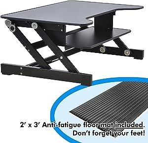 Lorell Sit-to-Stand Monitor Riser (LLR81974), Bonus bundle: Includes 2' x 3' Anti-fatigue Mat