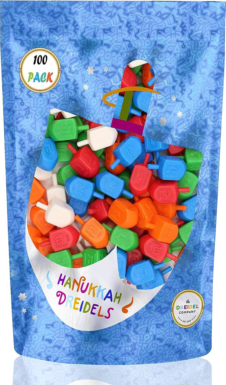 Hanukkah Dreidels 100 Bulk Pack Multi-Color Plastic Chanukah Draydels with English Transliteration Includes 10 Dreidel Game Instruction Cards
