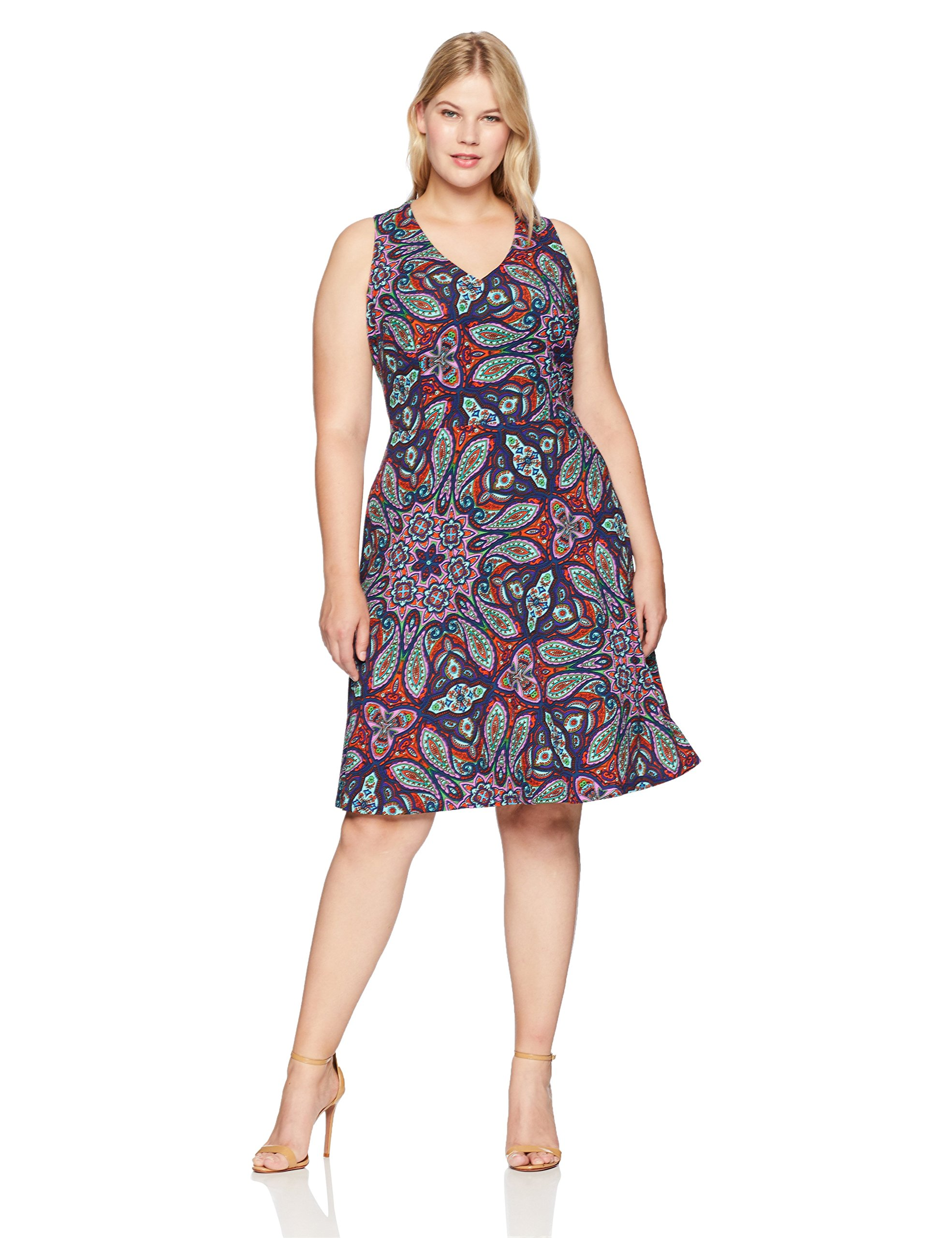London Times Women's Plus Size Halter V Neck Fit and Flare Dress, Purple/Pink, 16W