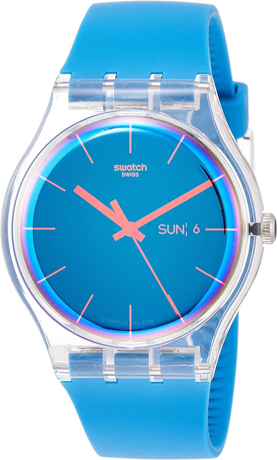 Swatch Men's Quartz Watch with Silicone Strap, Blue, 20 (Model: SUOK711)