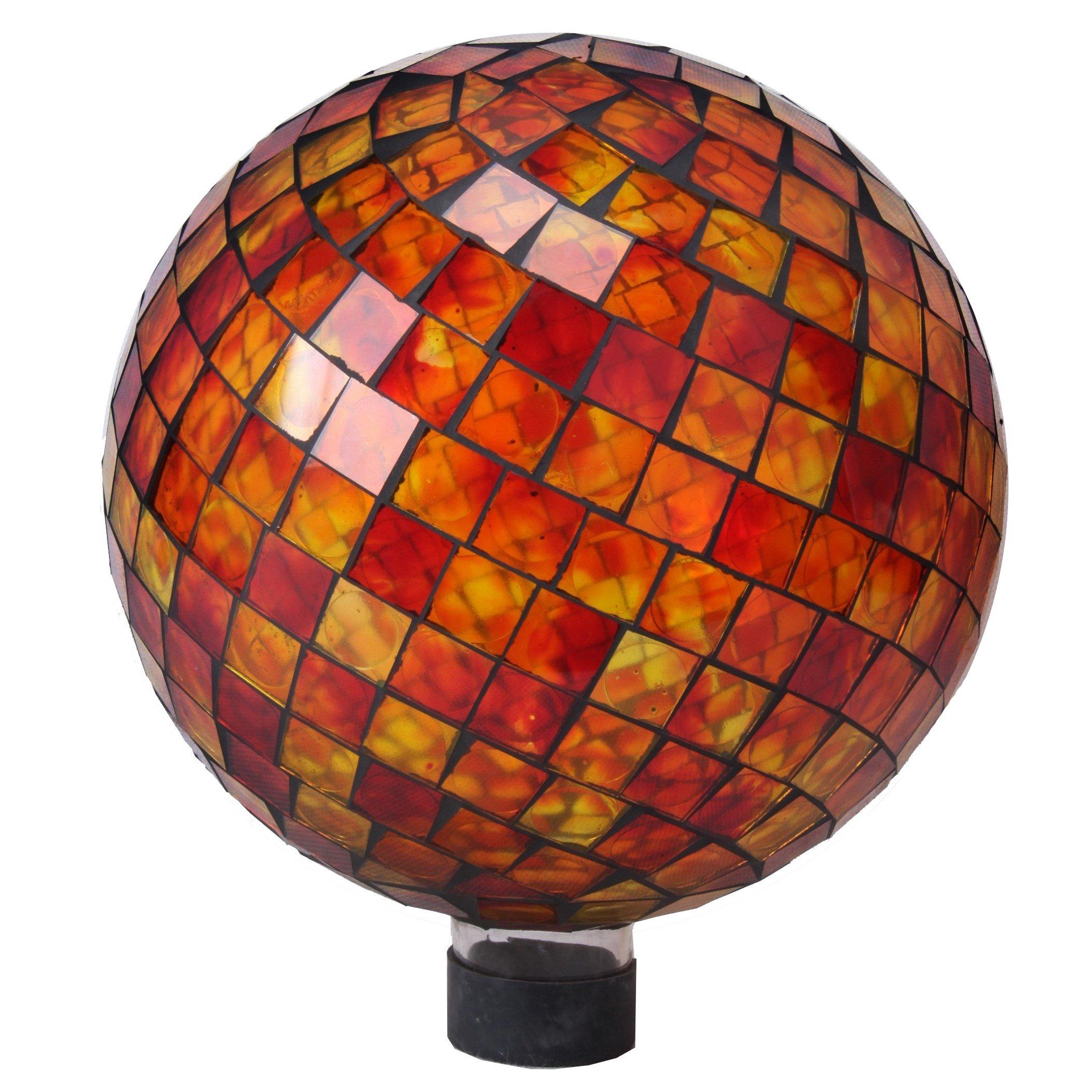 Very Cool Stuff GLMRYO102 VCS Tile Red Yellow Orange Mosaic Glass Globe, 10'' by Very Cool Stuff (Image #1)