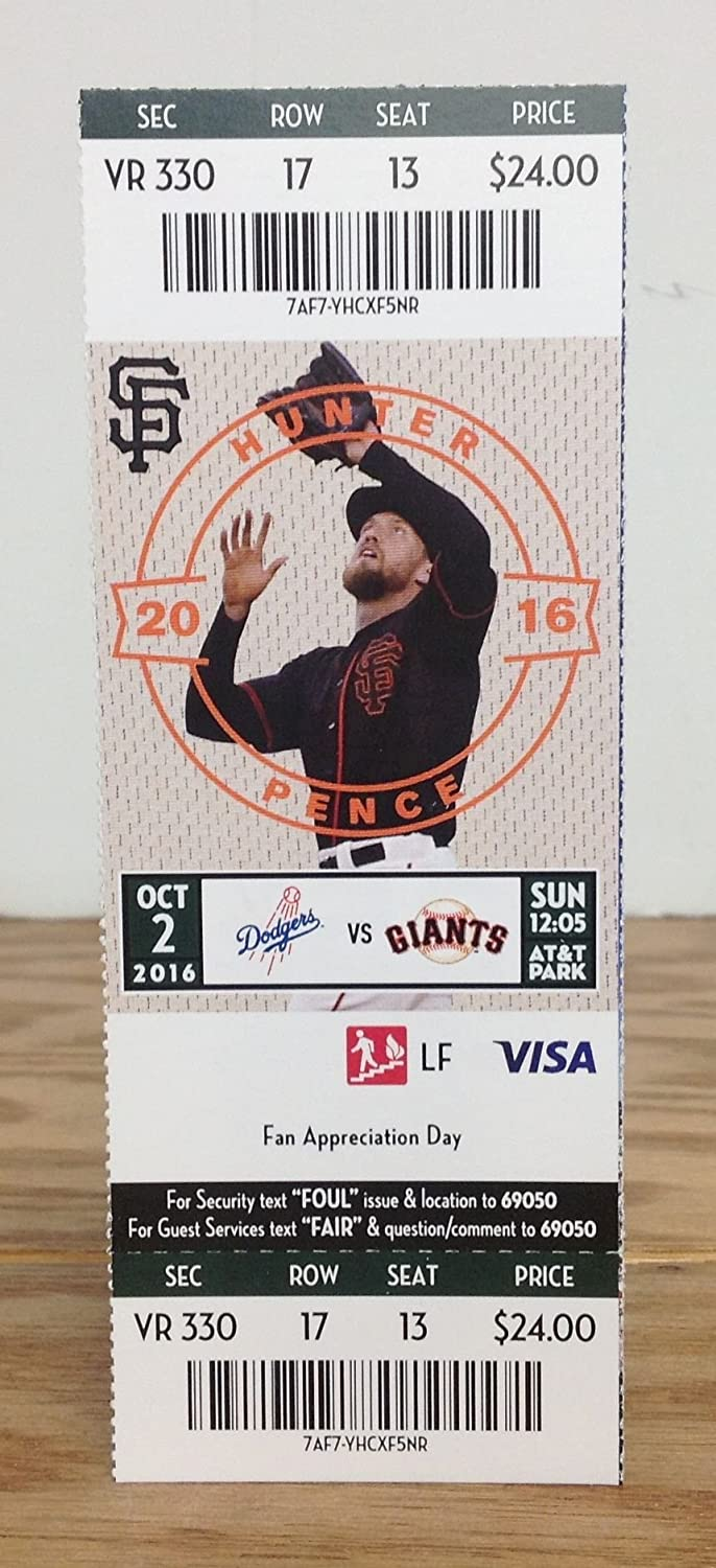 Vin Scully Los Angeles Dodgers Legendary Announcer Season Ticket Holder HARD TICKET ~ LAST GAME ANNOUNCED LA Dodgers vs. SF Giants October 2nd, 2016