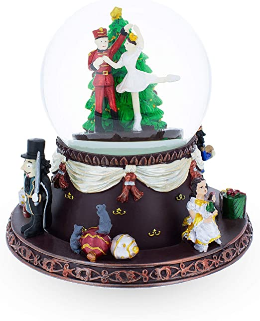 BestPysanky Insert 4 Pictures in a Christmas Tree Snow Globe Music Box