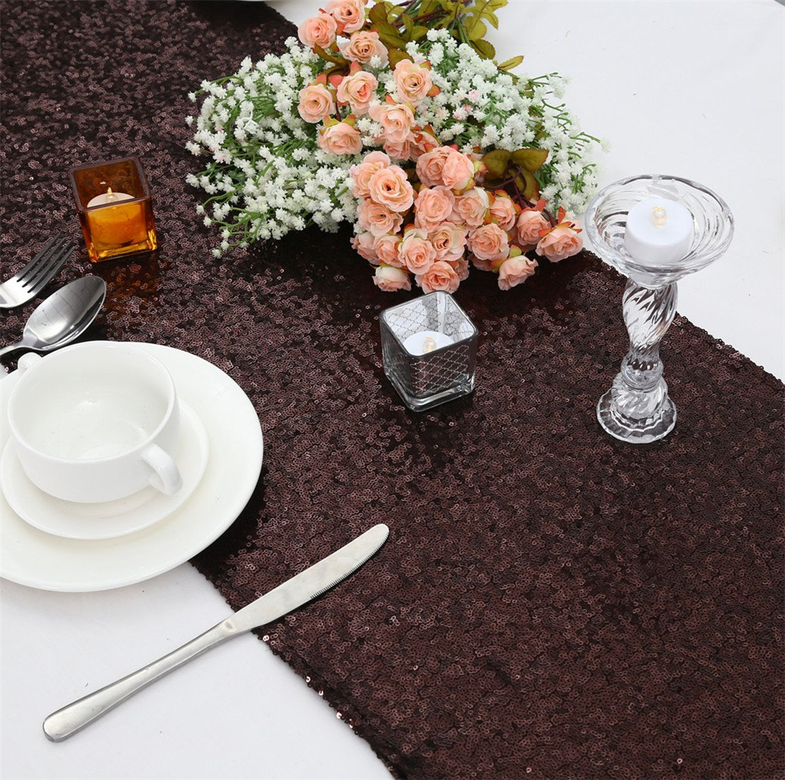 3E Home 30x185cm(12x72 inches) Black Sequin Table Runner For Wedding Banquet Events Decoration