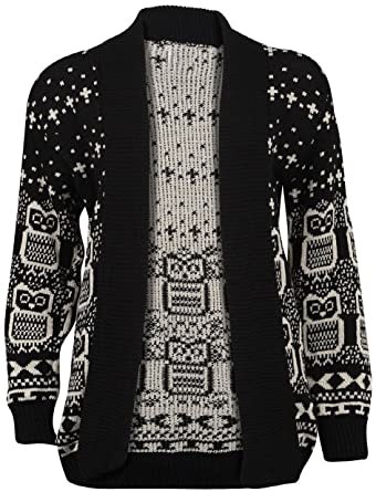 41394edcb13f NEW WOMEN LADIES CHRISTMAS OWL PRINT KNITTED JUMPER LONG SLEEVE XMAS ...