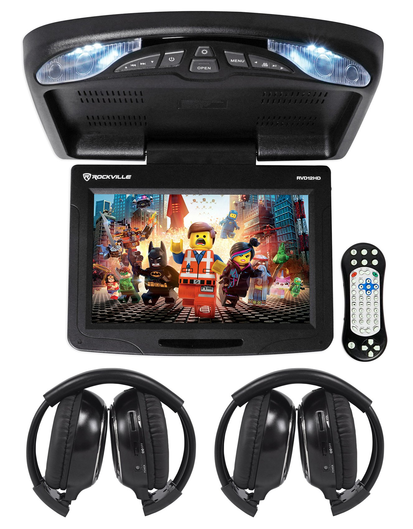 Rockville RVD12HD-BK 12'' Black Flip Down Car Monitor DVD/USB Player+Headphones by Rockville