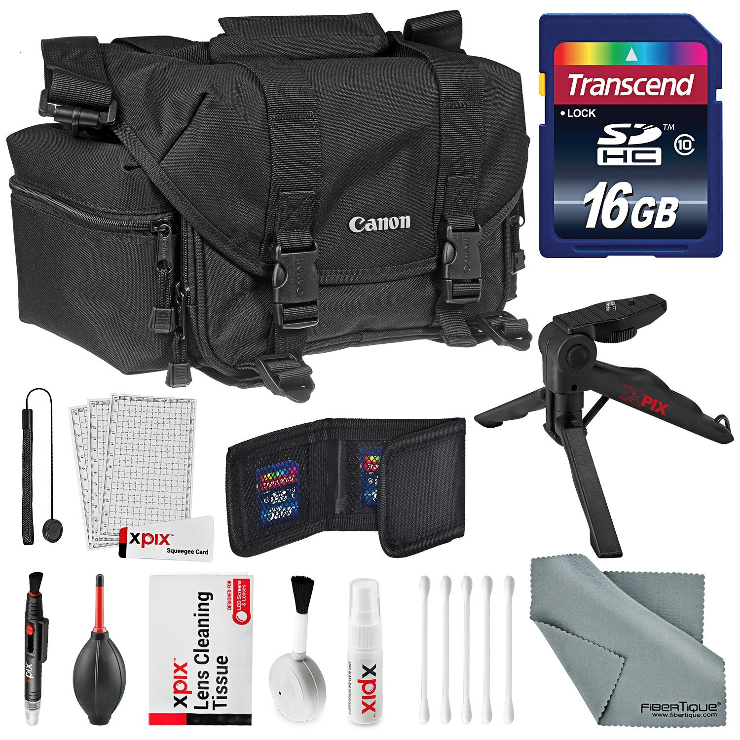Canon Gadget Bag 2400 for EOS SLR Cameras Accessory Bundle with 16GB SD Card + Table top Tripod + Memory Card Wallet + Xpix Deluxe Cleaning Kit