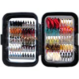 Flyafish Vintage One Box with 100pcs Wet and Dry Fly Fishing Lure Stream Trout Fishing