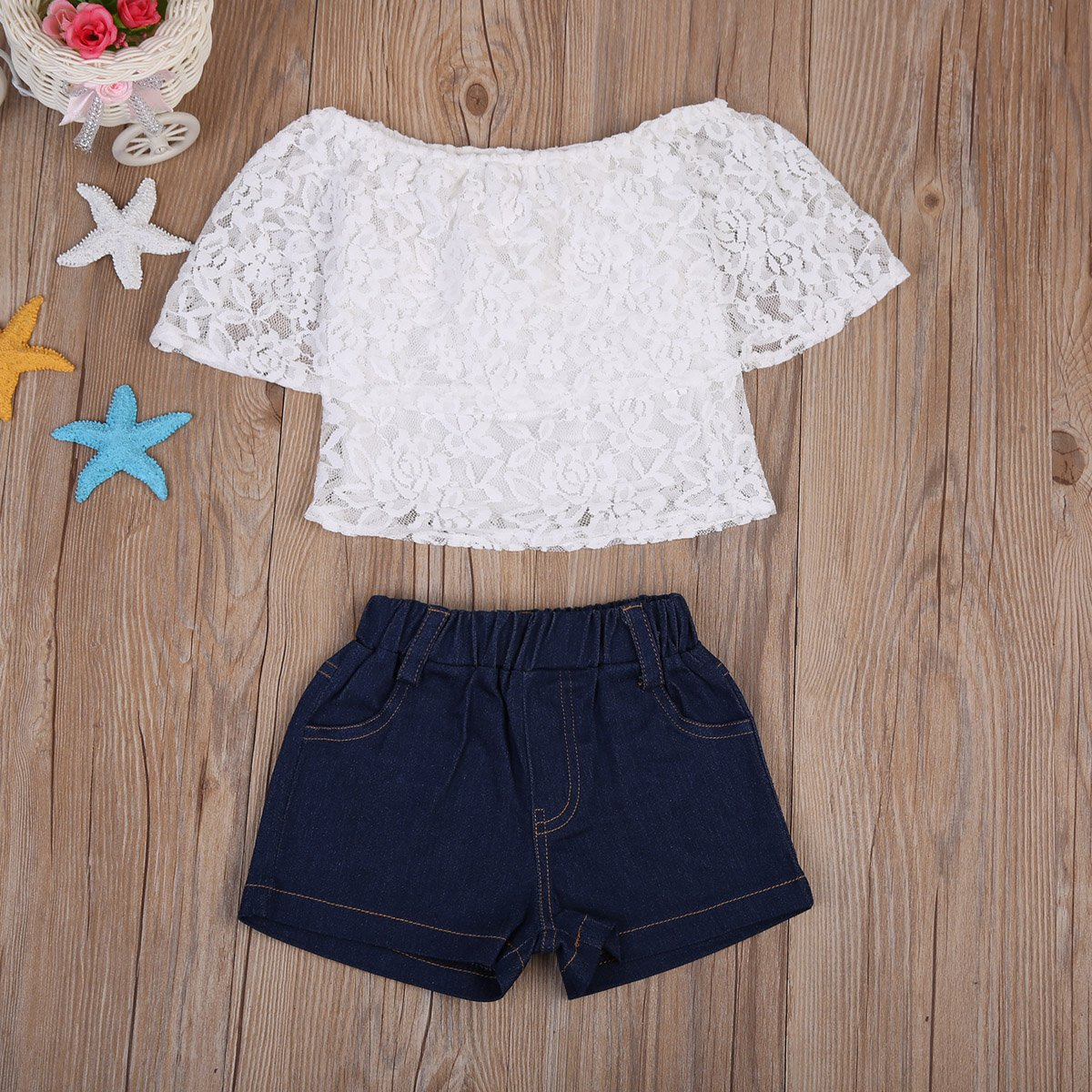Combclub Toddler Baby Girls Off Shoulder Lace Tops+Short Denim Pants Summer Outfits Short Sets