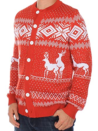 Ugly Christmas Sweater - Reindeer Double Date Cardigan (Red) at ...
