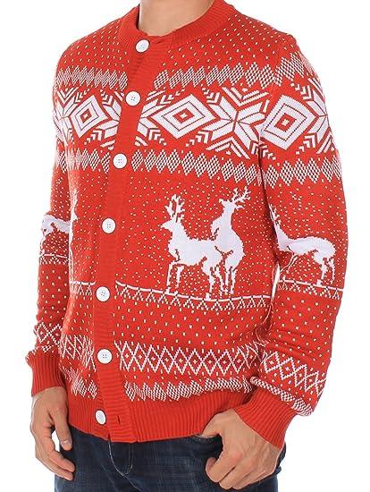 b5288cb29 Amazon.com  Ugly Christmas Sweater - Reindeer Double Date Cardigan ...