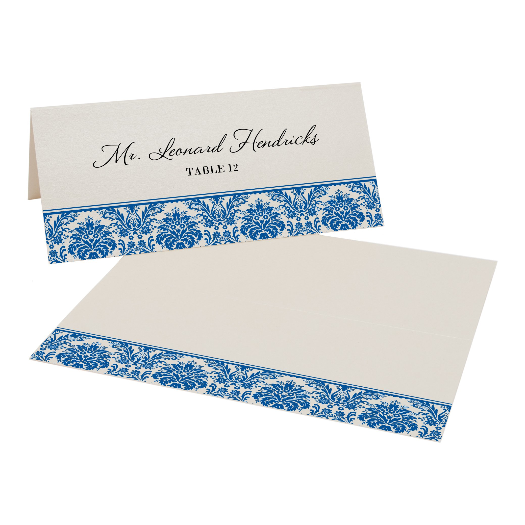 Damask Pattern Place Cards, Champagne, Royal Blue, Set of 375 by Documents and Designs