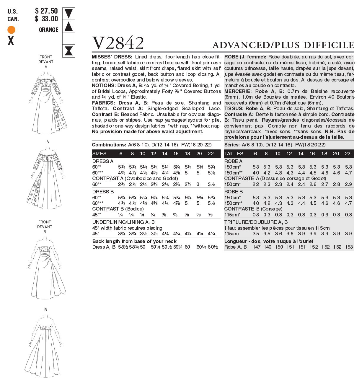 Vogue 2842 - Patrón de costura para confeccionar vestido de mujer ...