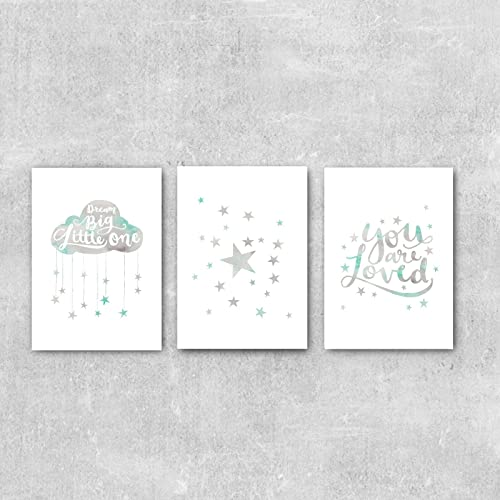 Baby Boy Wall Art Grey and Mint Nursery Decor Set Of 3 Prints  sc 1 st  Amazon UK & Baby Boy Wall Art Grey and Mint Nursery Decor Set Of 3 Prints ...