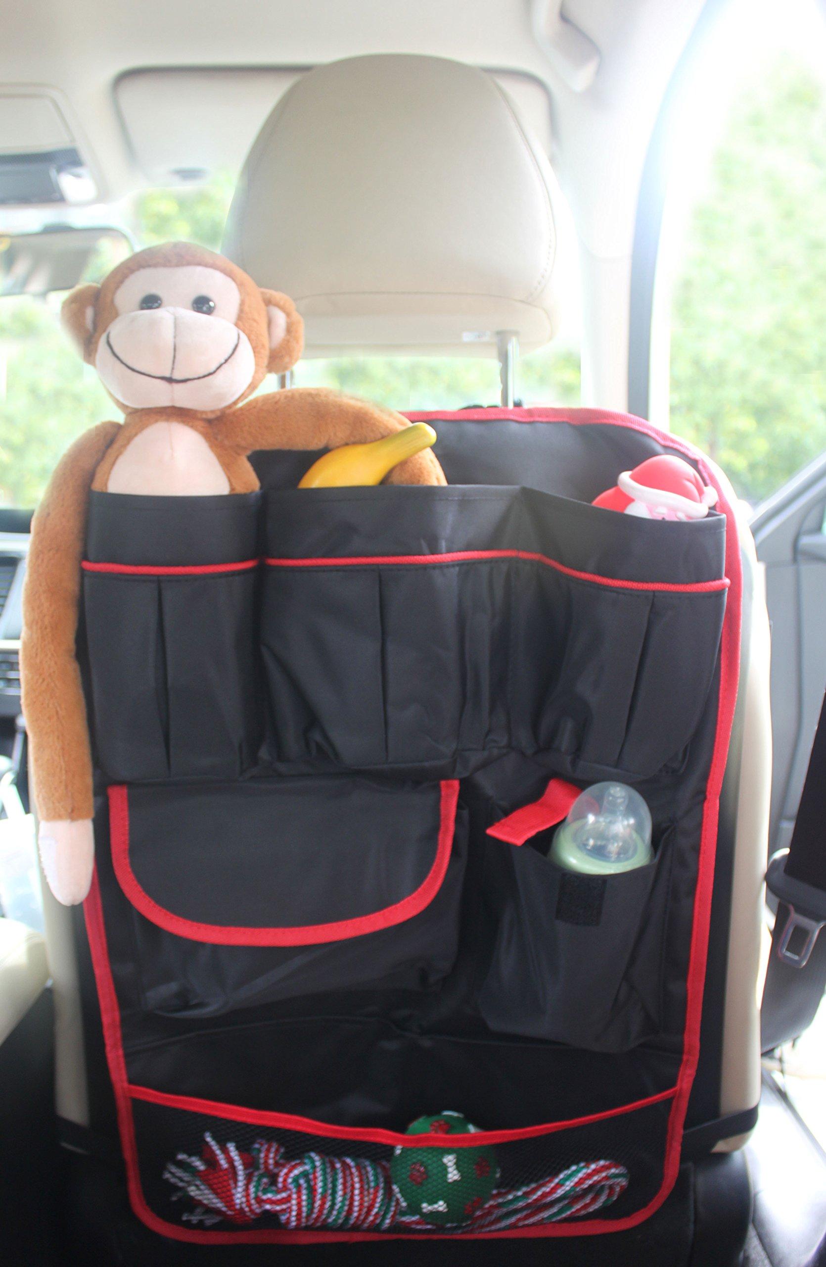 Durapower Backseat Car Organizer Kids Toy Storage & Baby Travel Accessories & Back Seat Protector/Kick Mat