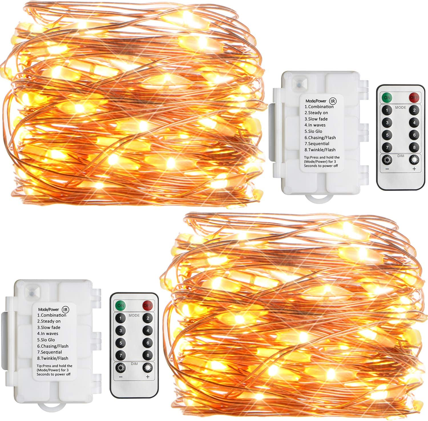 Koopower 2 Pack Outdoor String Lights 16ft 50 LEDs Battery Operated Fairy Lights 8 Mode Waterproof Copper Wire Lights for Bedroom, Garden, Easter, Xmax Decoration Warm White (Remote and Timer)