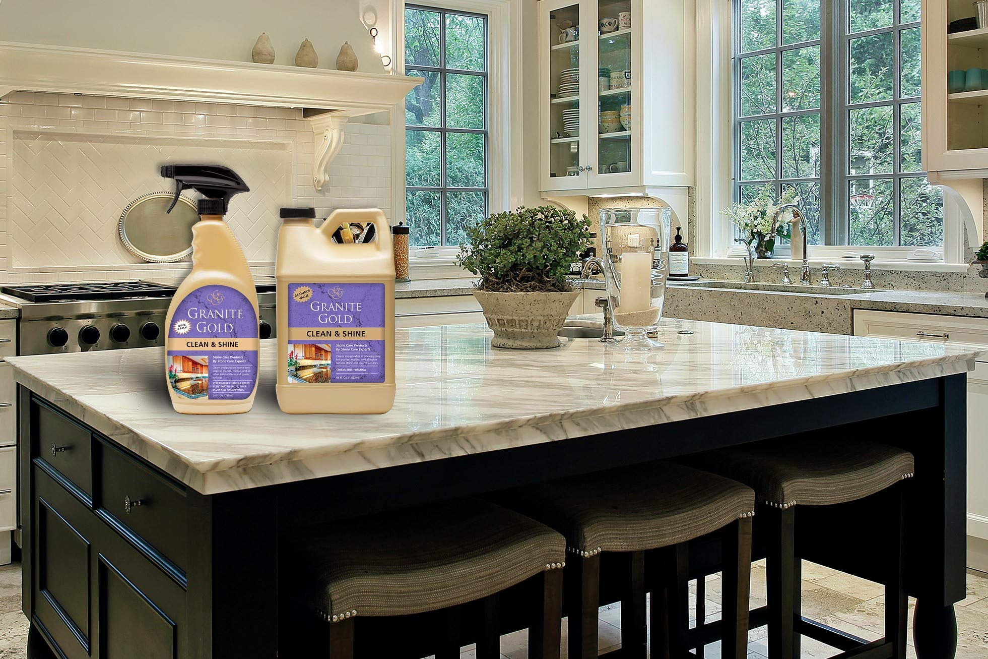 Granite Gold Clean and Shine Spray and Refill Value Pack - Polishes and Deep Cleans Natural Stone Surfaces, Made in The USA by Granite Gold (Image #4)
