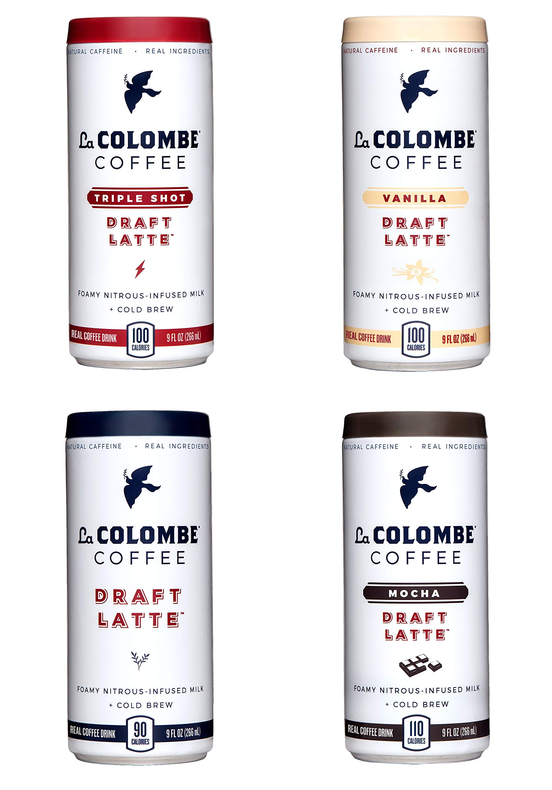 La Colombe Draft Latte Variety Pack - 9 Fluid Ounce, 16 Count - Core 4 Flavors: Triple, Vanilla, Draft, Mocha - Made With Real Ingredients - Grab And Go Coffee