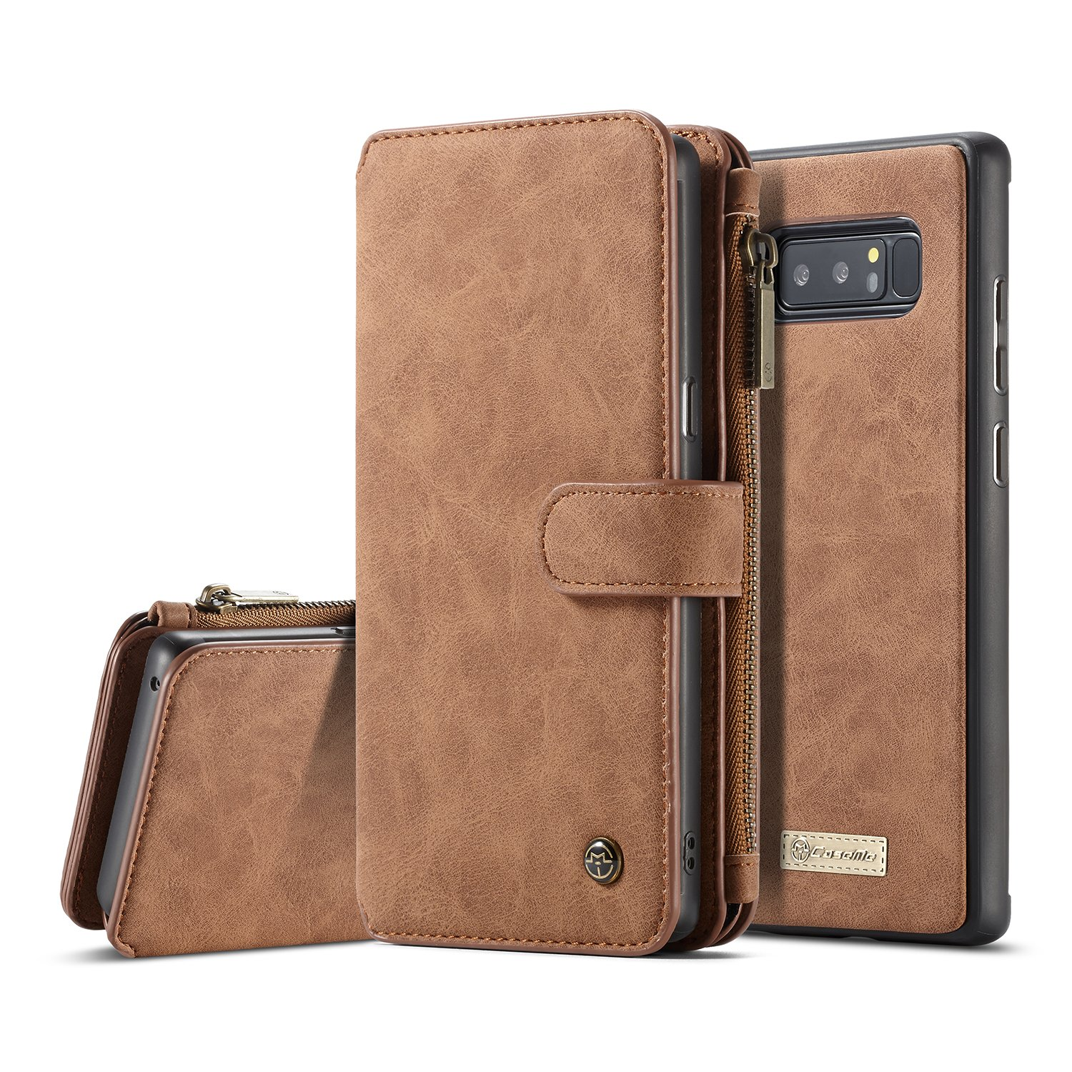 quality design f7b66 f5df5 XRPow Galaxy Note 8 Magnetic Detachable Wallet Case Premium Back Cover Slim  Leather Folio Wallet Holder Case for Samsung Galaxy Note 8 Brown