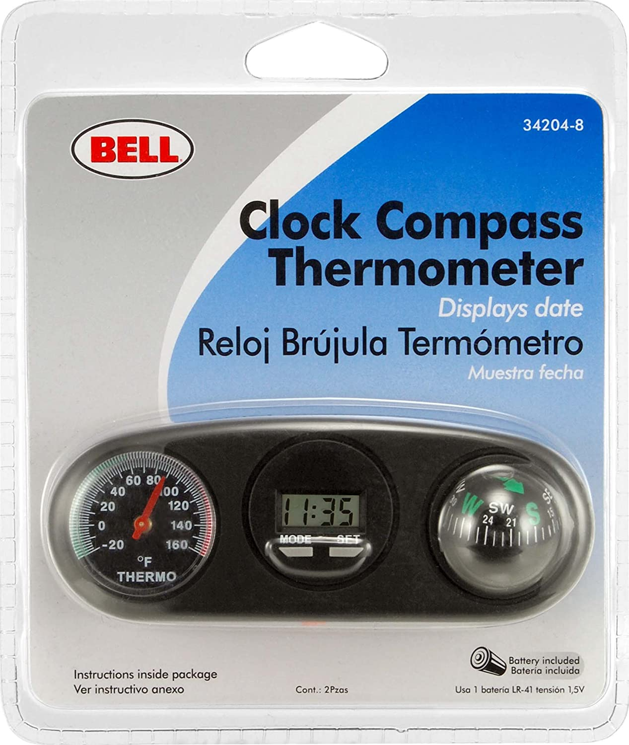 Amazon.com: Bell Automotive 22-1-34204-8 R-A-M Clock, Compass and Thermometer: Automotive
