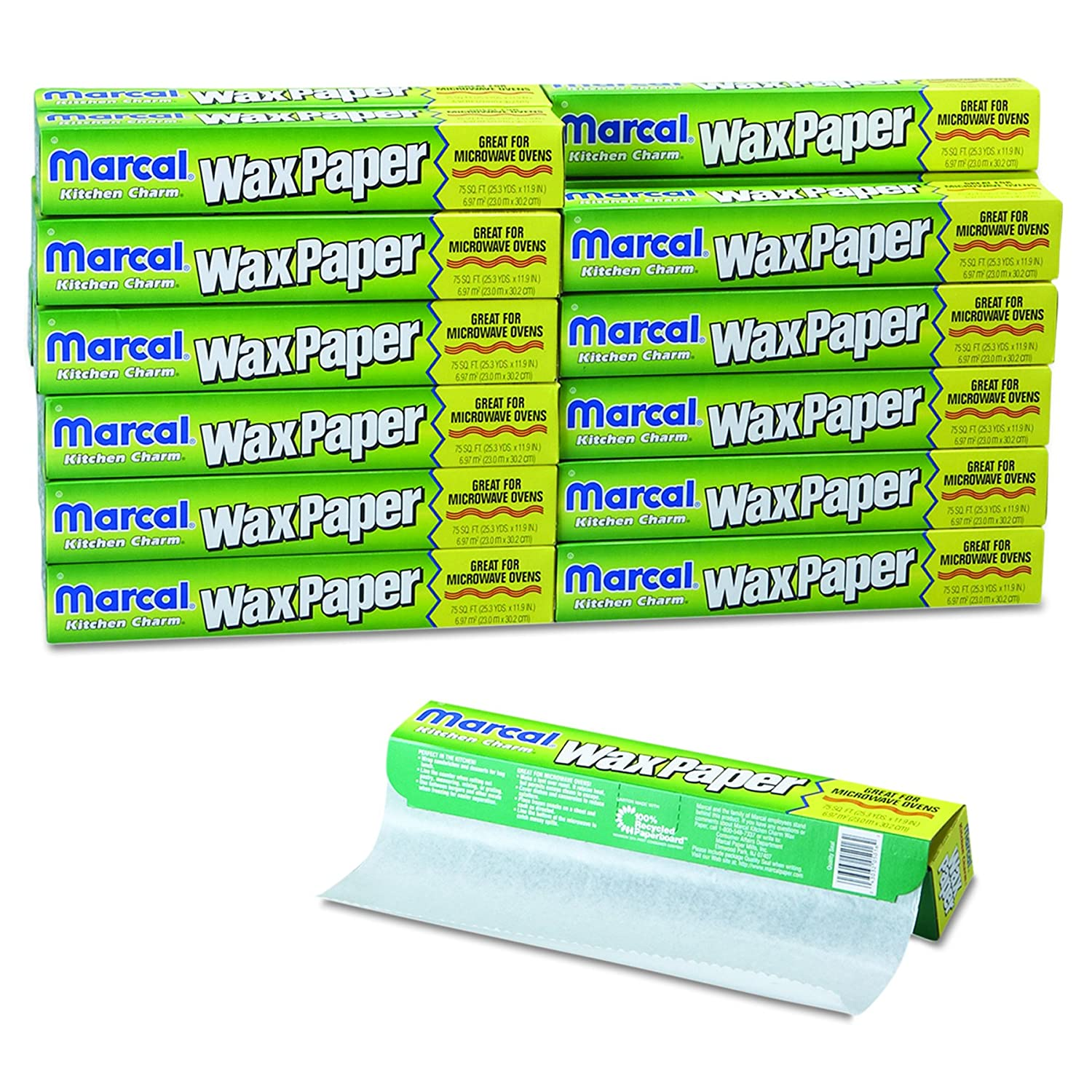 11 9//10 x 75ft Marcal 5016 Kitchen Charm Wax Paper Roll White Case of 24