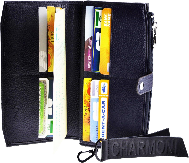 Bleu Compagnon De Voyage Porte Ch/équier Portefeuille Aspect Cuir Et Porte Cl/é Charmoni/® Neuf