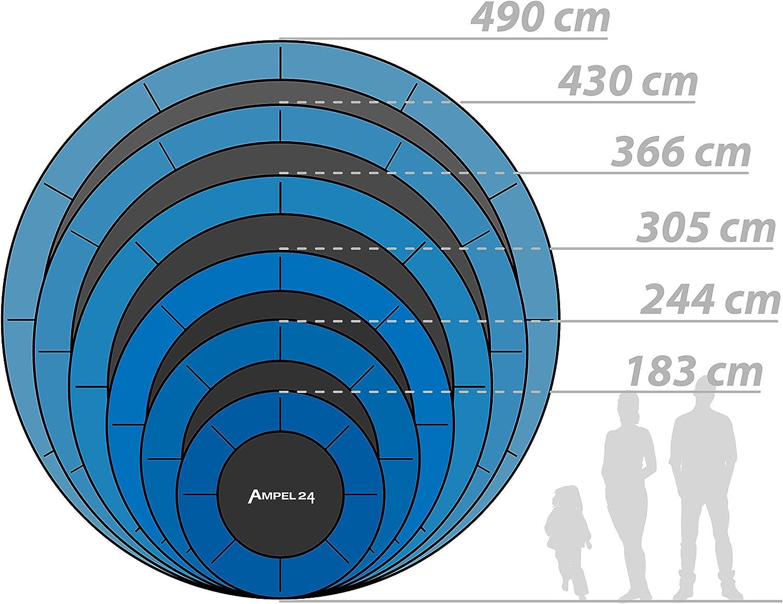 8 piquets//Filet Externe avec Anneau de stabilit/é//Bleu 3,66m de diam/ètre//r/ésistant jusqu/à 160 kg Ampel 24 Trampoline Complet avec Filet de s/écurit/é