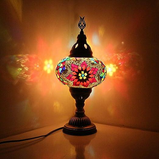 Lámpara de mesa de estilo turco marroquí con mosaico multicolor ...