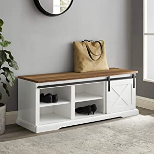 Walker Edison Abbey Modern Farmhouse Sliding X Barn Door Entry Bench with Metal Accents, 48 Inch, White