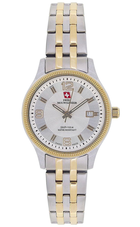 Swiss Mountaineer Damenuhr Zwei Ton-Edelstahl-Armband Gold-Ton LÜnette Datum SM8006